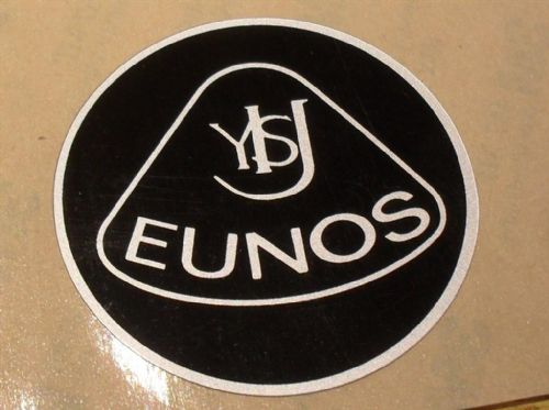 Badge, plastic, Eunos, retro style, 55mm, black/silver